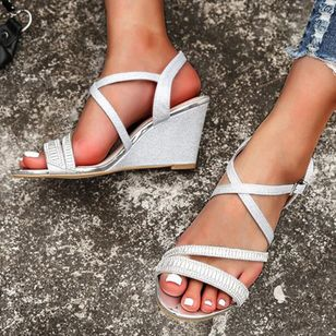 Women's Buckle Slingbacks Wedge Heel Sandals Wedges_1
