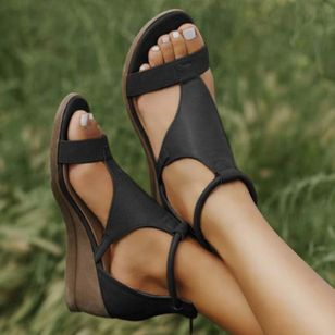 Women's Zipper Round Toe Wedge Heel Sandals_10