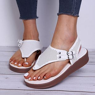 Women's Buckle Flip-Flops Flat Heel Sandals Platforms_6