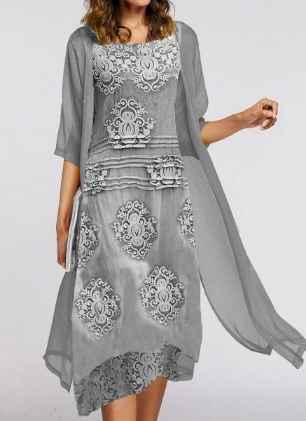 Elegant Floral Wrap Round Neckline X-line Dress_1