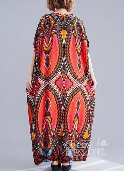 Red Plus Size Tunic Color Block V-Neckline Casual Maxi Plus Dress_4