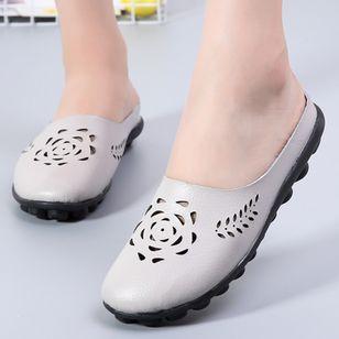 Women's Hollow-out Flower Closed Toe Slingbacks Flat Heel Sandals_4