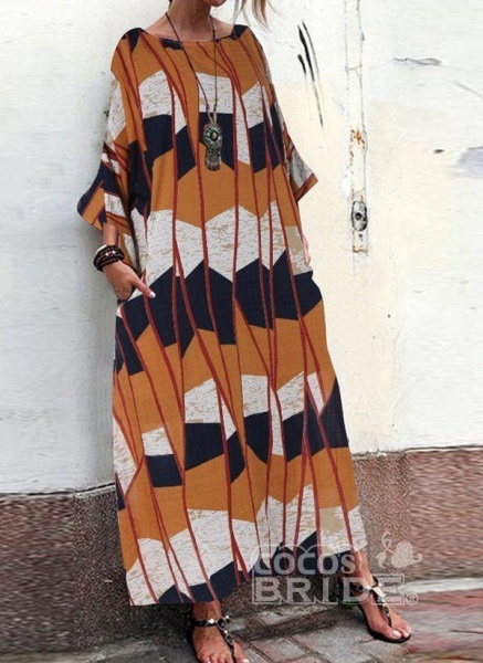 Multicolor Plus Size Tunic Color Block Round Neckline Casual Pockets Plus Dress_6