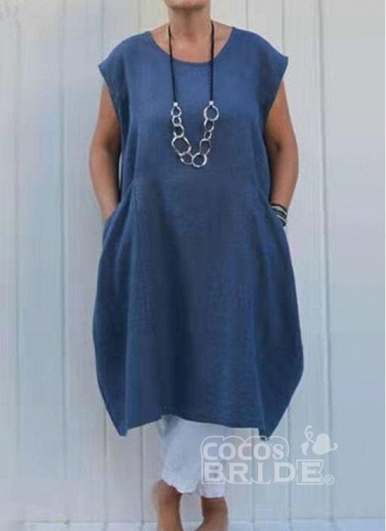 Plus Size Tunic Solid Round Neckline Casual Pockets Plus Dress_6
