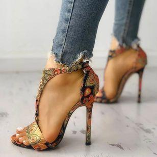Women's Flower Ankle Strap Heels Cloth Stiletto Heel Sandals_3