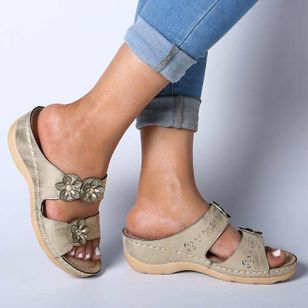 Women's Flower Slingbacks Wedge Heel Sandals_4