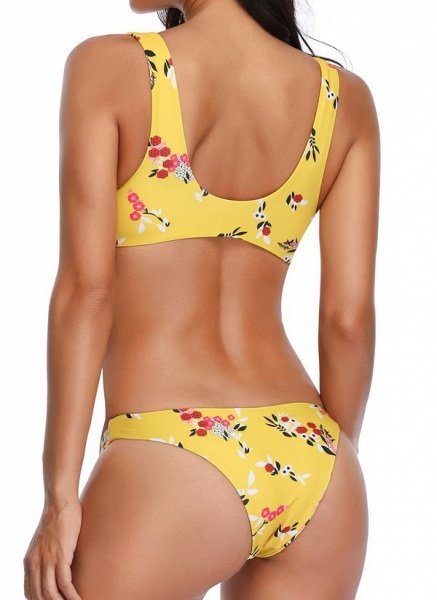 Polyester Floral Bikinis Swimwear_5