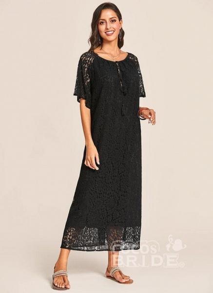 Black Plus Size Tunic Solid V-Neckline Casual Lace Plus Dress_3