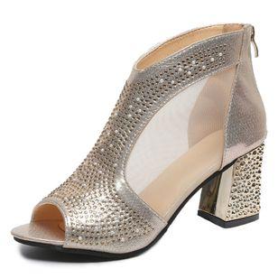 Women's Crystal Peep Toe Fabric Chunky Heel Sandals_4