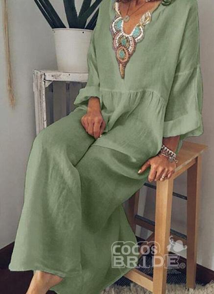 Sky Blue Arabian Floral Tunic V-Neckline Shift Dress_4