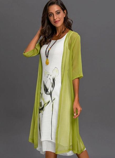 Floral Wrap Round Neckline Midi X-line Dress_2