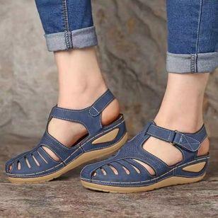 Women's Buckle Flats Low Heel Sandals_1