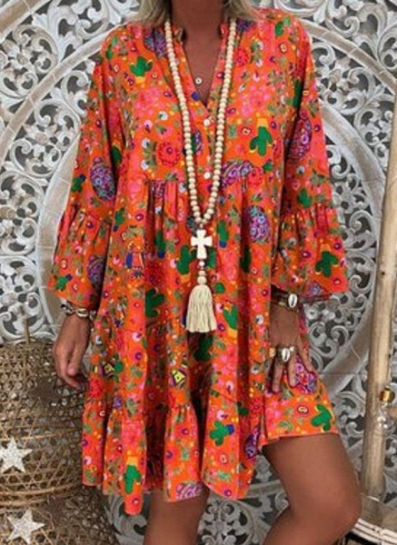 Pink Plus Size Tunic Floral V-Neckline Casual Above Knee Plus Dress_3