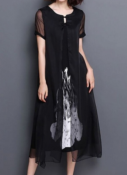 Casual Floral Wrap Tunic Shift Dress_6