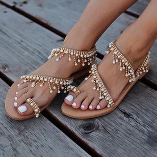Women's Pearl Tassel Toe Ring Flat Heel Sandals_1
