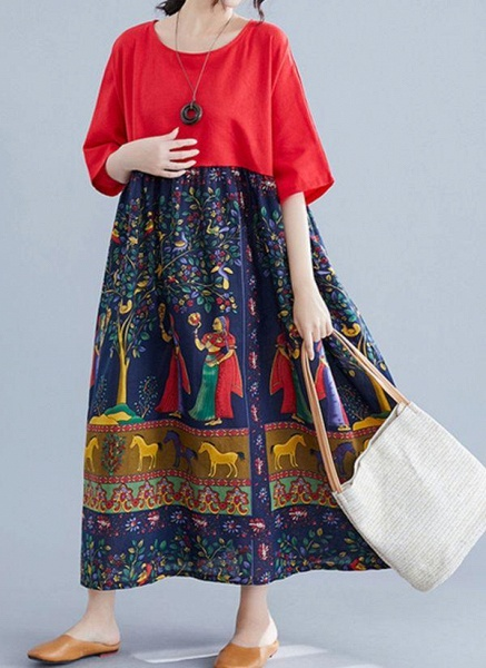 Red Plus Size Tunic Character Round Neckline Casual Maxi Plus Dress_3
