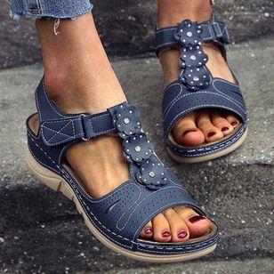 Women's Velcro Round Toe Nubuck Flat Heel Sandals_4