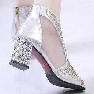 Women's Crystal Peep Toe Fabric Chunky Heel Sandals_2