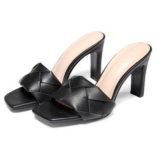 Women's Braided Strap Square Toe Slingbacks Flat Heel Sandals_3