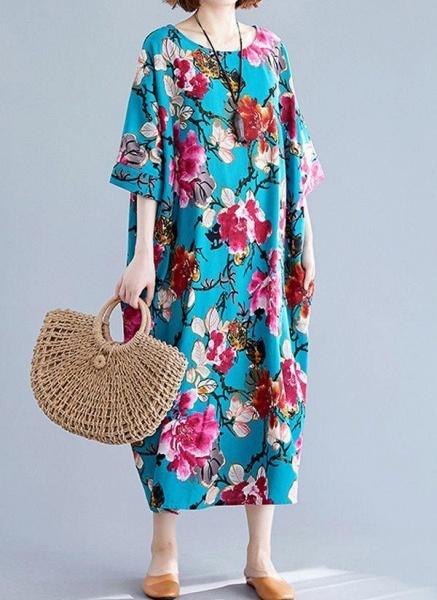 Blue Plus Size Tunic Floral Round Neckline Casual Midi Plus Dress_1