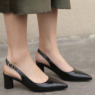 Women's Buckle Pointed Toe Heels Leatherette Chunky Heel Sandals_4