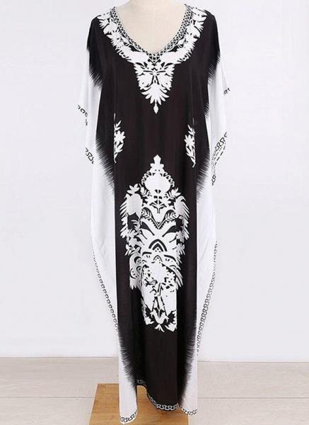 Black Plus Size Tunic Color Block V-Neckline Casual Midi Plus Dress_2