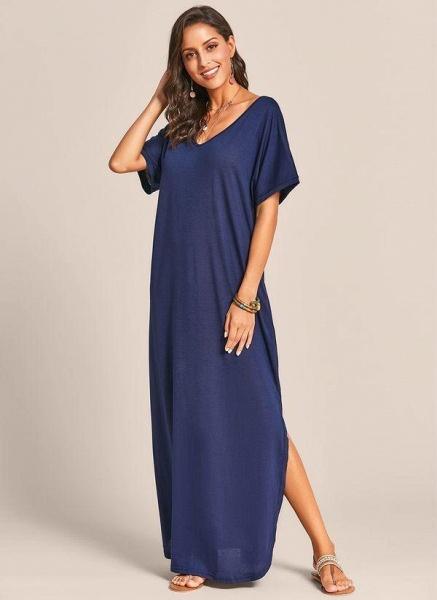 Royal Blue Plus Size Solid V-Neckline Casual Maxi Plus Dress_1