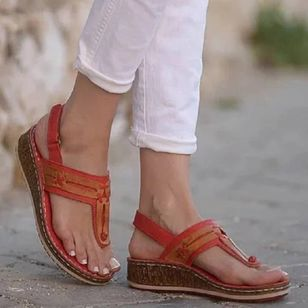 Women's Velcro Flip-Flops Wedge Heel Sandals_2