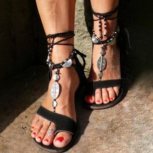 Women's Lace-up Toe Ring Flat Heel Sandals_1