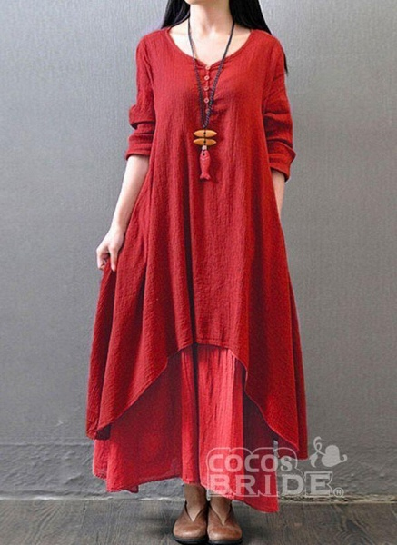 Red Casual Solid Tunic Round Neckline Shift Dress_5