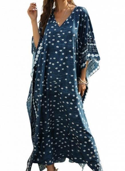 Plus Size Tunic Color Block V-Neckline Casual Maxi Plus Dress_1