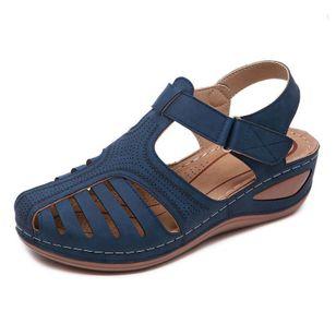 Women's Hollow-out Velcro Round Toe Flat Heel Sandals_7