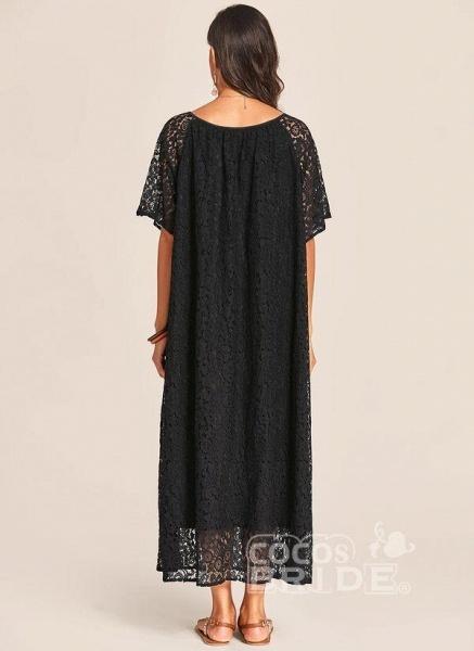 Black Plus Size Tunic Solid V-Neckline Casual Lace Plus Dress_4