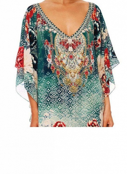 Green Plus Size Tunic Floral V-Neckline Casual Maxi Plus Dress_2