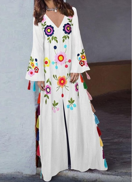 Casual Floral V-Neckline Maxi Shift Dress_3