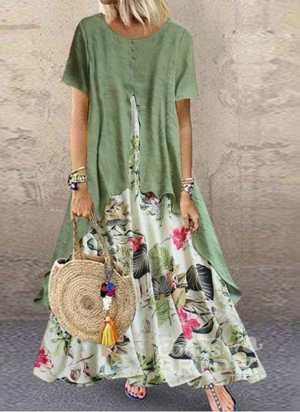 Green Plus Size Color Block Round Neckline Casual Buttons Maxi Plus Dress_3