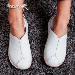 Women's Split Joint Closed Toe Round Toe Slingbacks Flat Heel Sandals_3