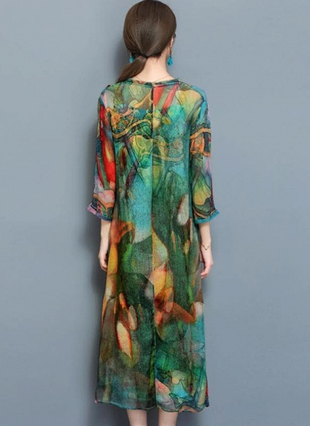 Arabian Floral Tunic Round Neckline A-line Dress_2