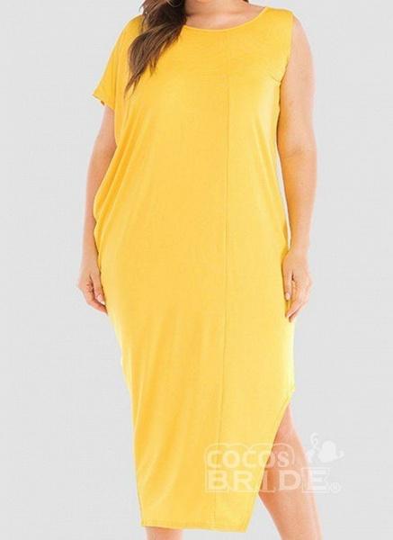Khaki Plus Size Tunic Solid Round Neckline Casual Elegant Midi Plus Dress_3