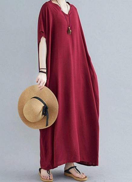 Royal Blue Plus Size Tunic Solid V-Neckline Casual Maxi Plus Dress_9
