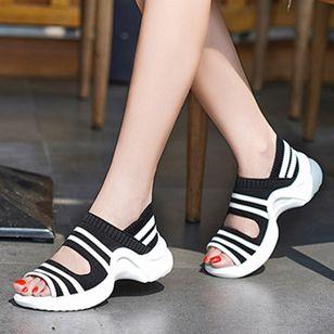 Women's Peep Toe Fabric Low Heel Sandals_3