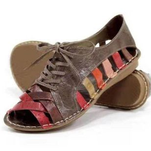 Women's Lace-up Hollow-out Low Top Flat Heel Sandals_3