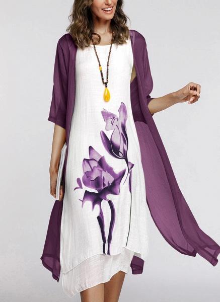 Floral Wrap Round Neckline Midi X-line Dress_24