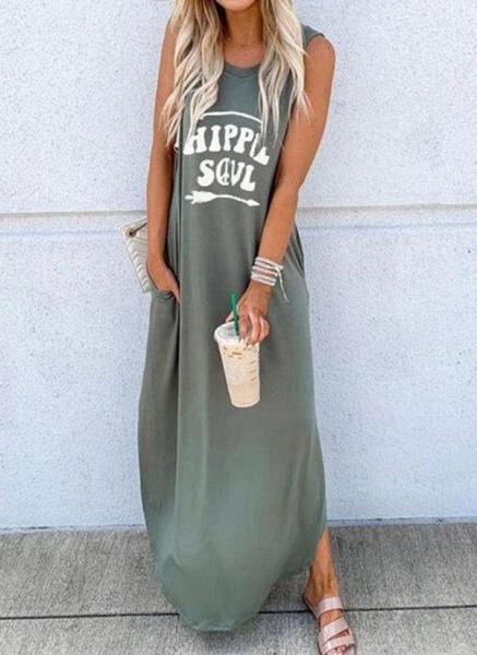 Green Casual Alphabet Tunic Round Neckline Shift Dress_1