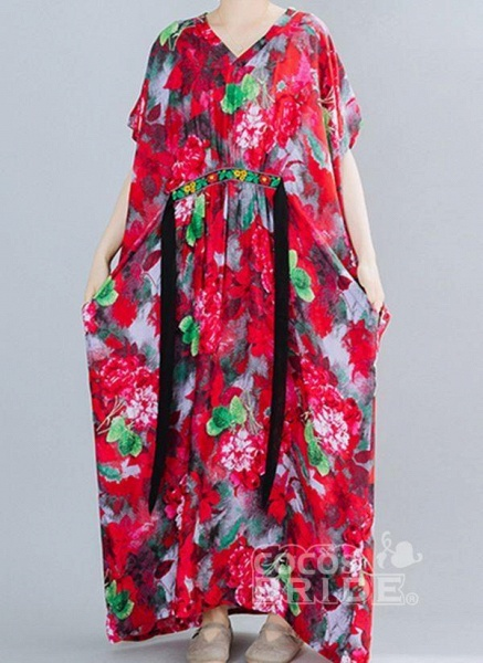 Red Plus Size Floral V-Neckline Boho Sashes Maxi Plus Dress_3