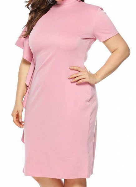 Pink Plus Size Solid Round Neckline Casual Ruffles Knee-Length Plus Dress_1