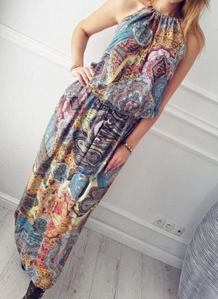 Casual Geometric Round Neckline Maxi X-line Dress_3