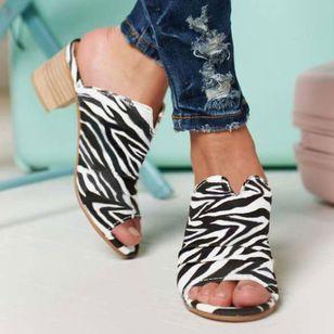 Women's Leopard Heels Chunky Heel Sandals_2