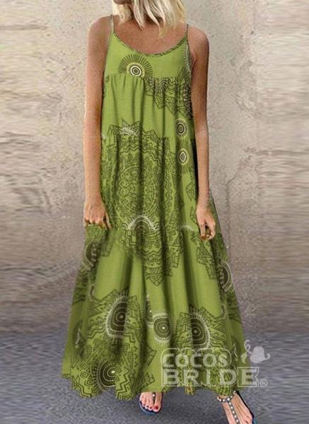 Blue Plus Size Tunic Color Block Camisole Neckline Casual Maxi Plus Dress_3