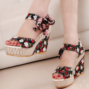Women's Lace-up Flower Slingbacks Cloth Wedge Heel Sandals Platforms_1